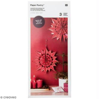 Kit étoile sacs en papier - Paper poetry - Rouge à pois blancs
