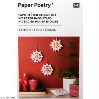 Kit étoile sacs en papier petit modèle - Paper poetry - Blanc à pois rouges
