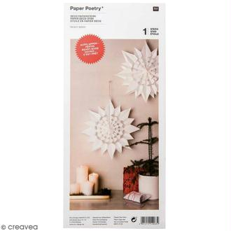 Etoile en papier - Paper poetry - Blanche