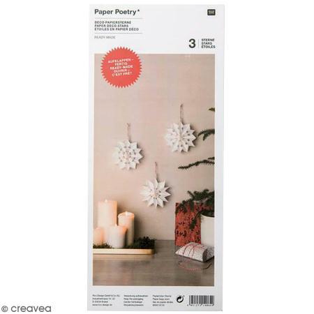3 Petites étoiles en papier - Paper poetry - Blanches - Rico Design