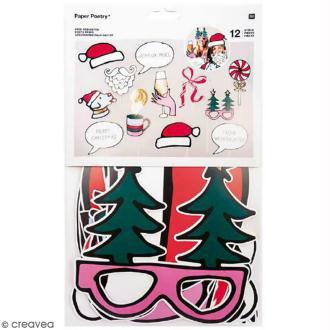 Kit Photobooth - Accessoires pour photos - Joyeux Noël - 12 pcs