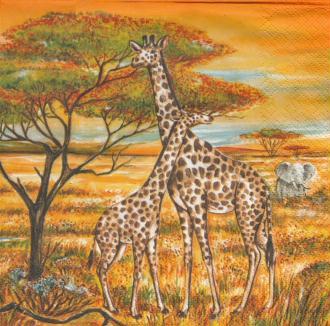 4 Serviettes en papier Savane girafe Zèbre Format Lunch