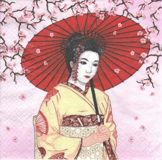 4 Serviettes en papier Asie Geisha Format Lunch