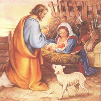 4 Serviettes en papier Crèche Jésus est né Format Lunch