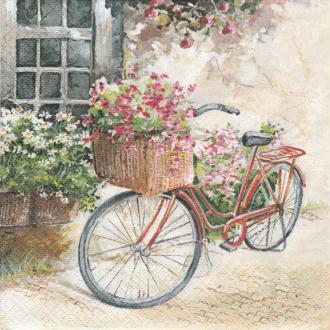 4 Serviettes en papier Paysage Fleur Vélo fleuri Format Lunch
