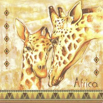 4 Serviettes en papier Girafe Afrique Format Lunch