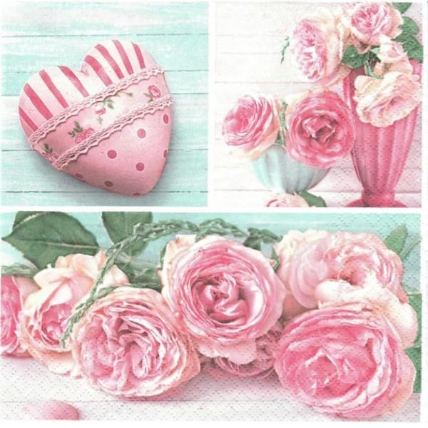 4 Serviettes en papier Cœur Roses Lunch - Serviette fleurs ...