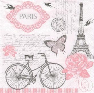 4 Serviettes en papier Vélo parisien Lunch