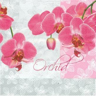 4 Serviettes en papier Orchidées romantiques  Lunch
