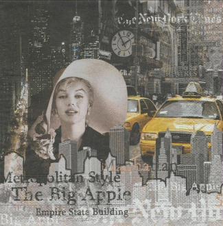 4 Serviettes en papier New-York Taxi Format Lunch