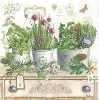 4 Serviettes en papier Herbarium Format Lunch