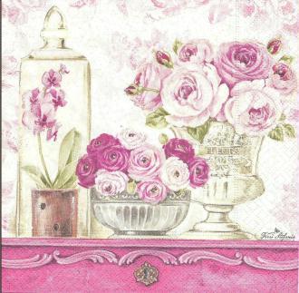 4 Serviettes en papier Shabby Roses Format Lunch