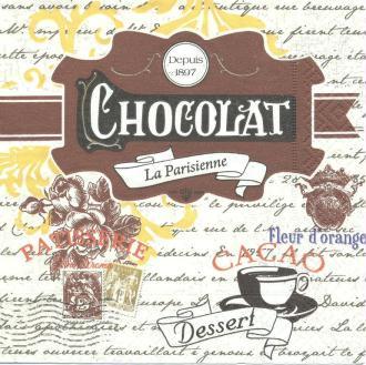 4 Serviettes en papier Chocolat La Parisienne Format Lunch