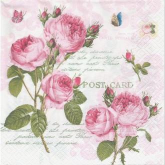 4 Serviettes en papier Roses Romantiques Format Lunch