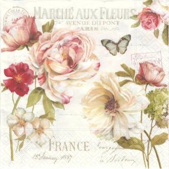 4 Serviettes en papier Bouquet de Fleurs Format Lunch