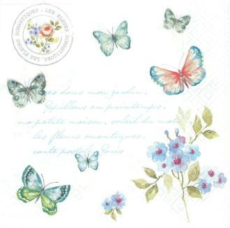 4 Serviettes en papier Papillons Format Lunch