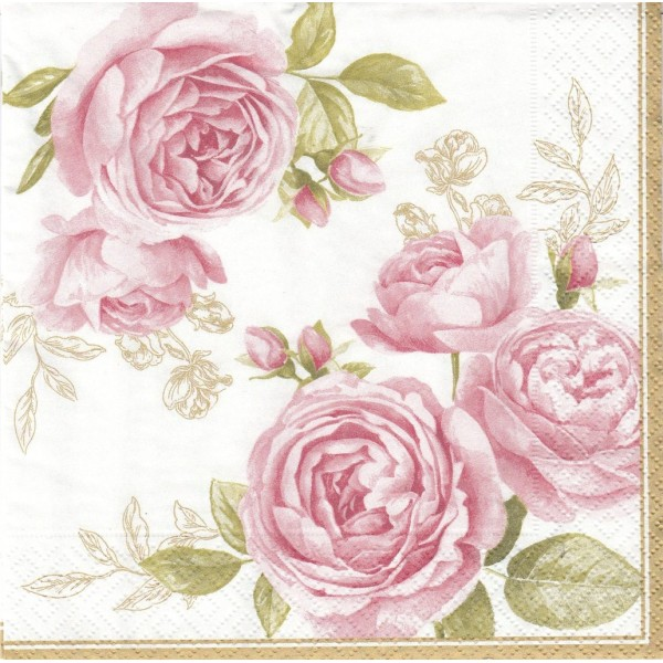 4 Serviettes en papier Roses Délicates Format Lunch ...