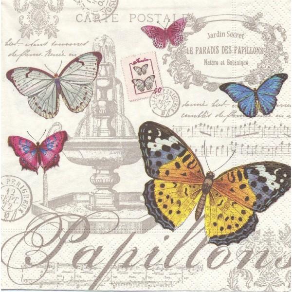 4 Serviettes en papier Paradis des papillons Format Lunch Decoupage Decopatch 414-PAPI Nuova R2S - Photo n°1