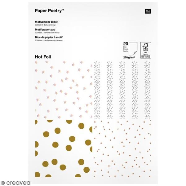 Bloc papier - Pois dorés et argentés - 21 x 29,5 cm - 20 feuilles - Photo n°1