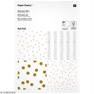 Bloc papier - Pois dorés et argentés - 21 x 29,5 cm - 20 feuilles