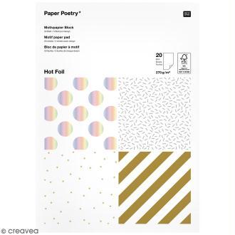 Bloc papier - Rayures dorées et argentées - 21 x 29,5 cm - 20 feuilles