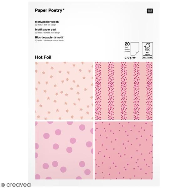 Bloc papier - Pois roses - 21 x 29,5 cm - 20 feuilles - Photo n°1