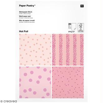 Bloc papier - Pois roses - 21 x 29,5 cm - 20 feuilles