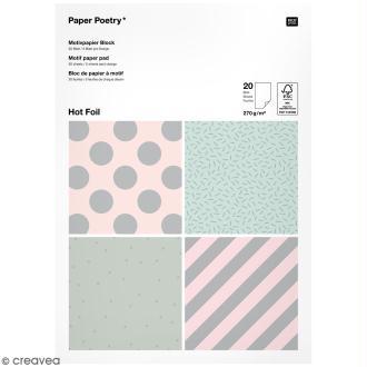 Bloc papier - Pois et rayures argentés - 21 x 29,5 cm - 20 feuilles