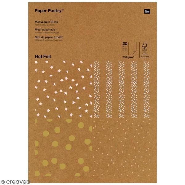 Bloc papier kraft - Pois dorés et argentés - 21 x 29,5 cm - 20 feuilles - Photo n°1