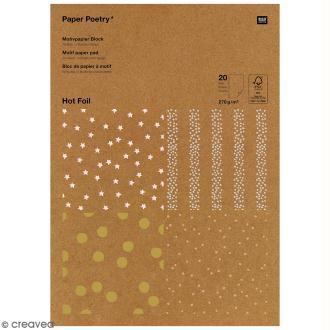Bloc papier kraft - Pois dorés et argentés - 21 x 29,5 cm - 20 feuilles