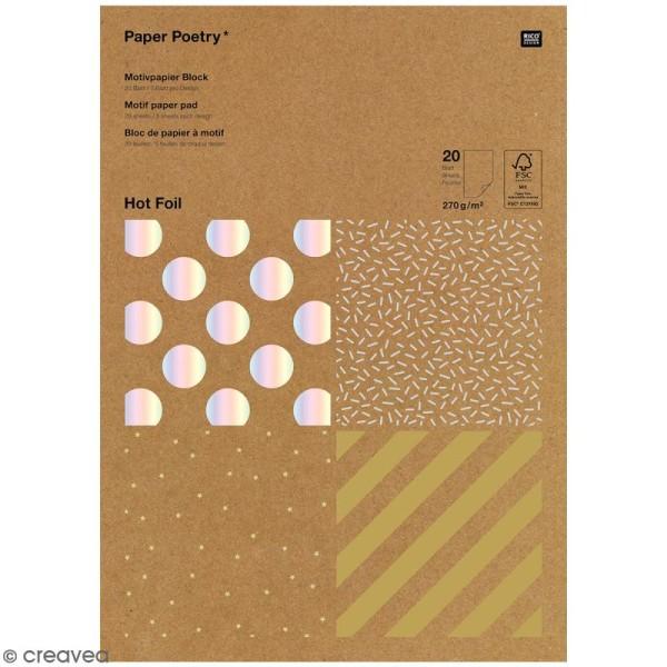 Bloc papier kraft - Rayures dorées et argentées - 21 x 29,5 cm - 20 feuilles - Photo n°1