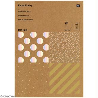 Bloc papier kraft - Rayures dorées et argentées - 21 x 29,5 cm - 20 feuilles
