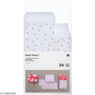 Boîtes cadeau Calendrier de l'Avent - Paper Poetry - Blanches à motifs étoiles irisées - 24 pcs