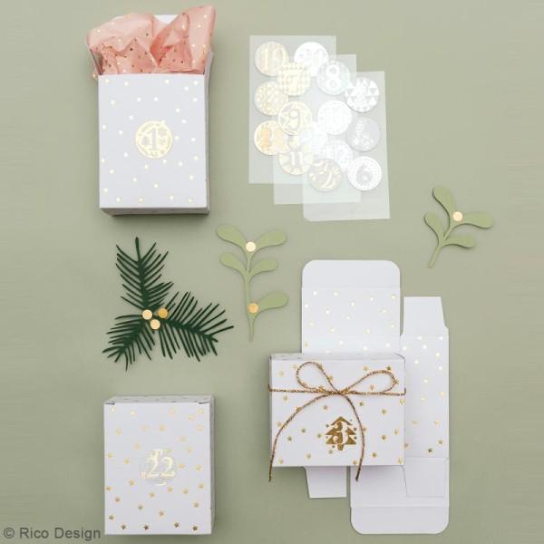Boîtes cadeau Calendrier de l'Avent - Paper Poetry - Blanches à motifs étoiles dorées - 24 pcs - Photo n°2