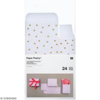 Boîtes cadeau Calendrier de l'Avent - Paper Poetry - Blanches à motifs étoiles dorées - 24 pcs