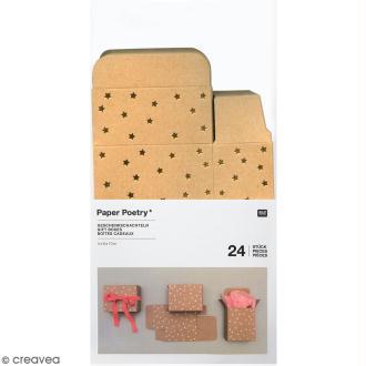 Boîtes cadeau Calendrier de l'Avent - Paper Poetry - Kraft à motifs étoiles dorées - 24 pcs