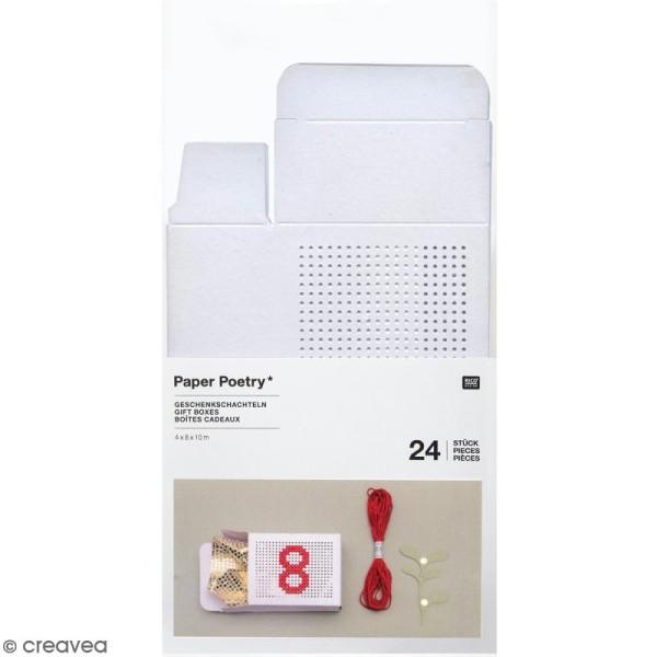 Boîtes cadeau Calendrier de l'Avent à broder - Paper Poetry - Blanches - 24 pcs - Photo n°1