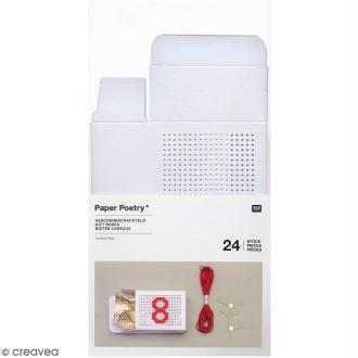 Boîtes cadeau Calendrier de l'Avent à broder - Paper Poetry - Blanches - 24 pcs