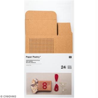Boîtes cadeau Calendrier de l'Avent à broder - Paper Poetry - Kraft - 24 pcs
