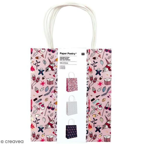 Lot de sacs en papier - Noël magique licornes - 18 x 21 cm - 3 pcs - Photo n°1