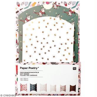 Lot de pochettes cadeaux - Noël magique - 10 X 15 cm et 12 x 18 cm - 6 pcs