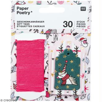 Etiquettes cadeaux - Noël magique - 5 à 7,5 cm - 30 pcs