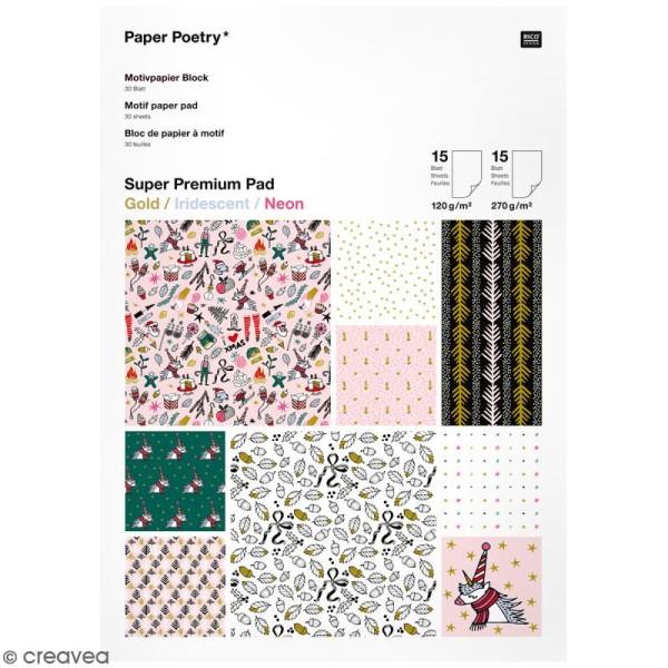 Bloc papier - Noël magique - 21 x 29,5 cm - 30 feuilles - Photo n°1