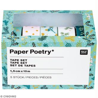 Set de masking tape - Noël classique - 1,5 cm x 10 m - 5 pcs
