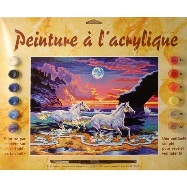 Peinture numero adulte - Chevaux au crépuscule - Photo n°1
