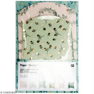 Lot de pochettes cadeaux - Noël classique - 10 X 15 cm et 12 x 18 cm - 6 pcs