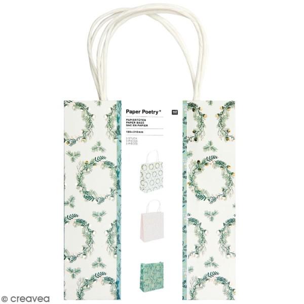 Lot de sacs en papier - Noël classique - 18 x 21 cm - 3 pcs - Photo n°1