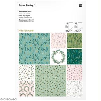 Bloc papier - Noël classique - 21 x 29,5 cm - 30 feuilles
