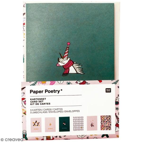 Kit cartes et enveloppes - Noël magique - A6 - 6 pcs - Photo n°1