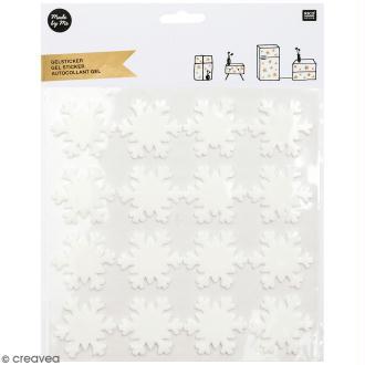 Autocollant gel - Flocons de neige blancs - 4 x 4 cm - 16 pcs